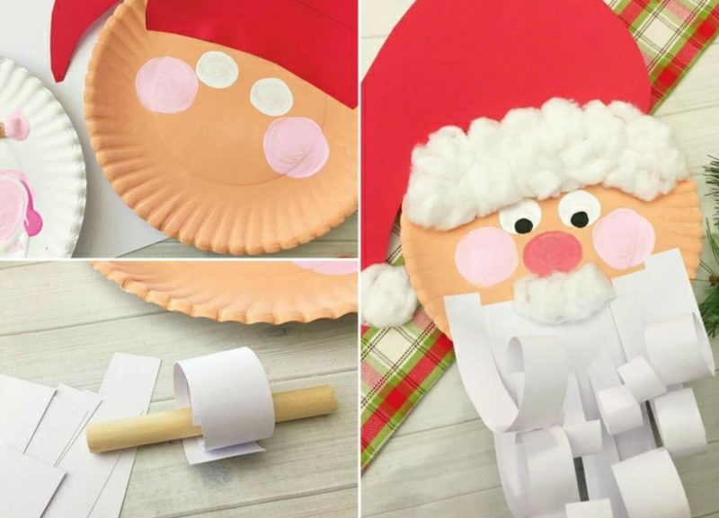 Nikolaus basteln aus Pappteller und Papierstreifen