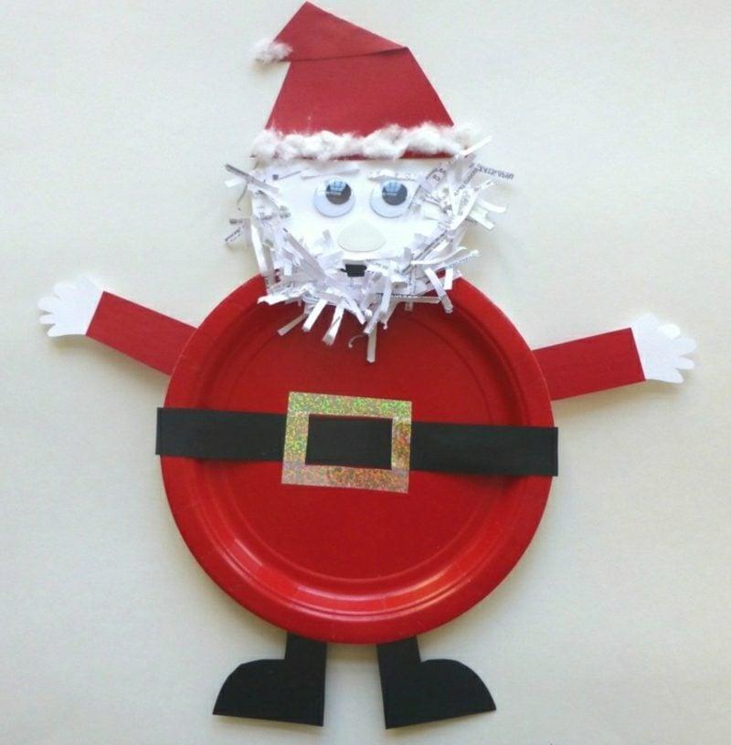 Nikolaus basteln mit Kindern Pappteller Anleitung