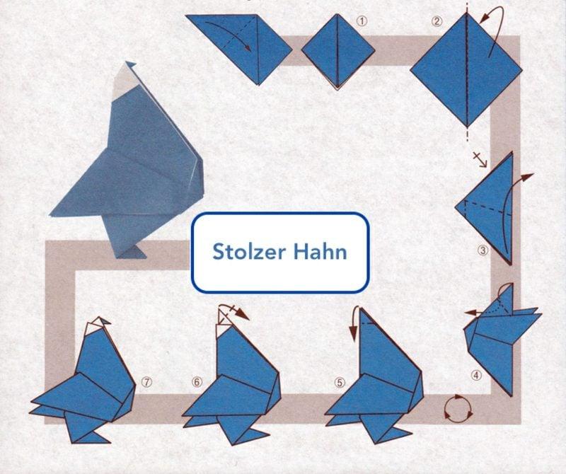 Bastelideen für Erwachsene Origami hahn Bilderanleitung