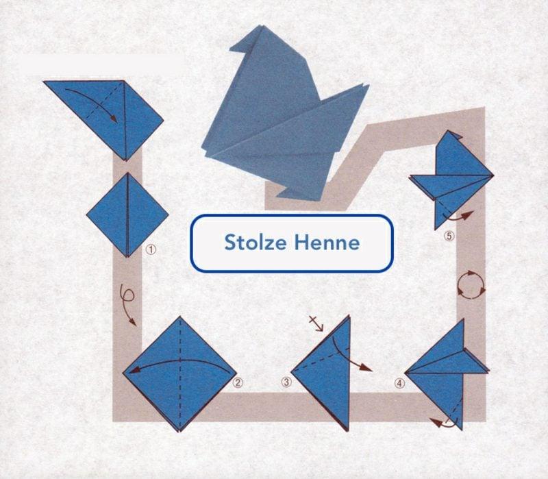 Bastelideen für Erwachsene Origami Henne falten Anleitung