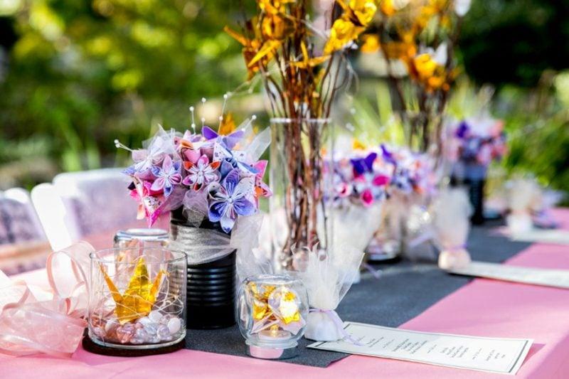 Bastelideen für Erwachsene Origami Kranich im Glas Hochzeit