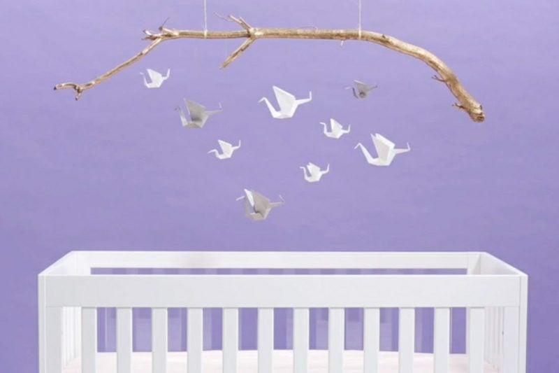 Bastelideen für Erwachsene Origami Kranich Babyzimmer Deko