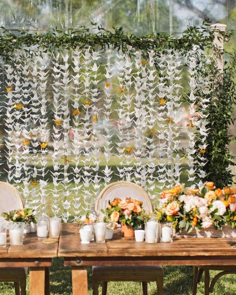 Bastelideen für Erwachsene Hochzeitsdeko Girlanden Kraniche