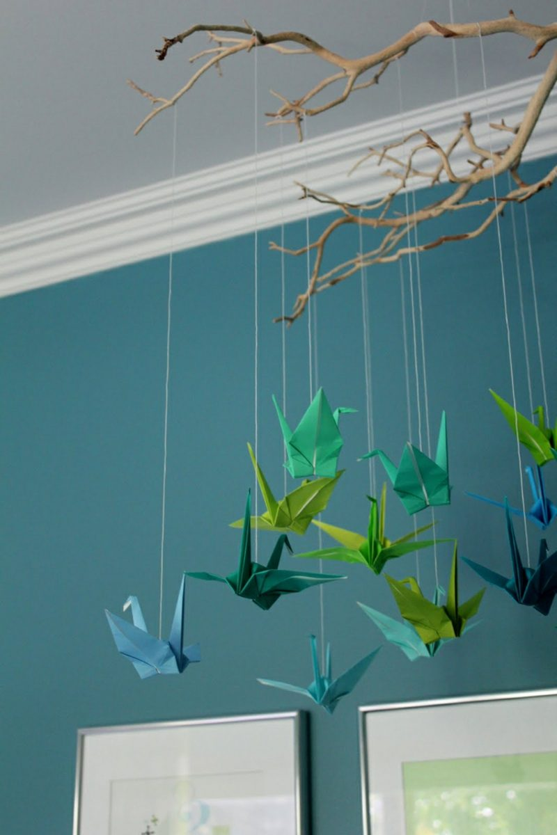 Bastelideen für Erwachsene Origami Kraniche Ombre