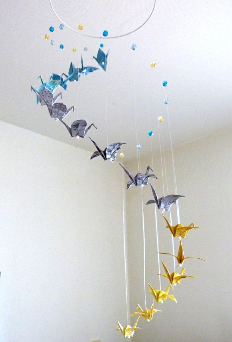 Bastelideen für Erwachsene Origami Kraniche Ombre Look Deko