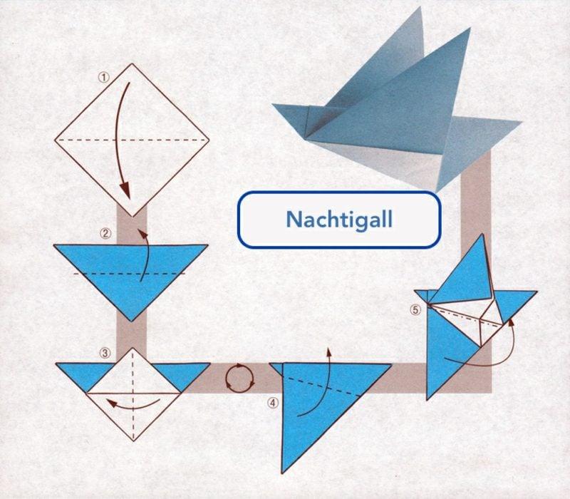 Bastelideen für Erwachsene Origami Nachtigall selber machen