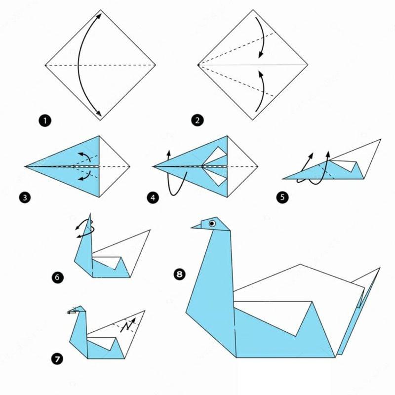 Bastelideen für Erwachsene Origami Schwan falten