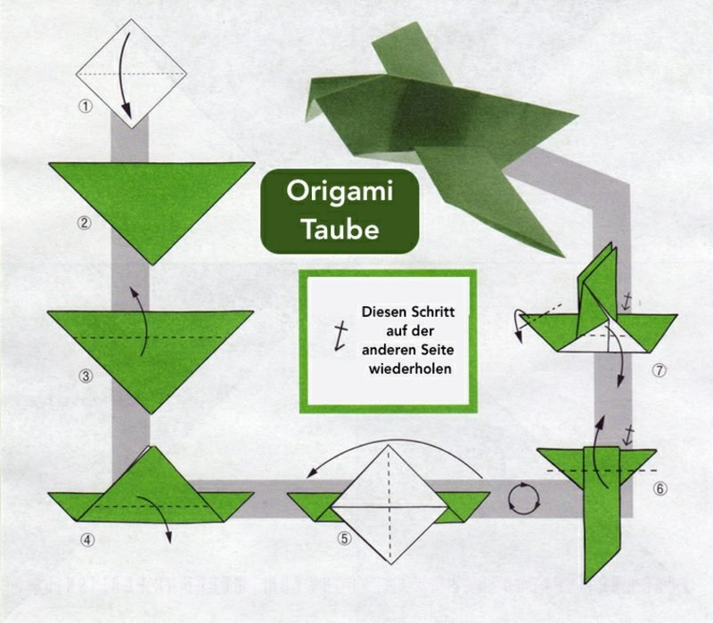 Bastelideen für Erwachsene Origami Taube falten
