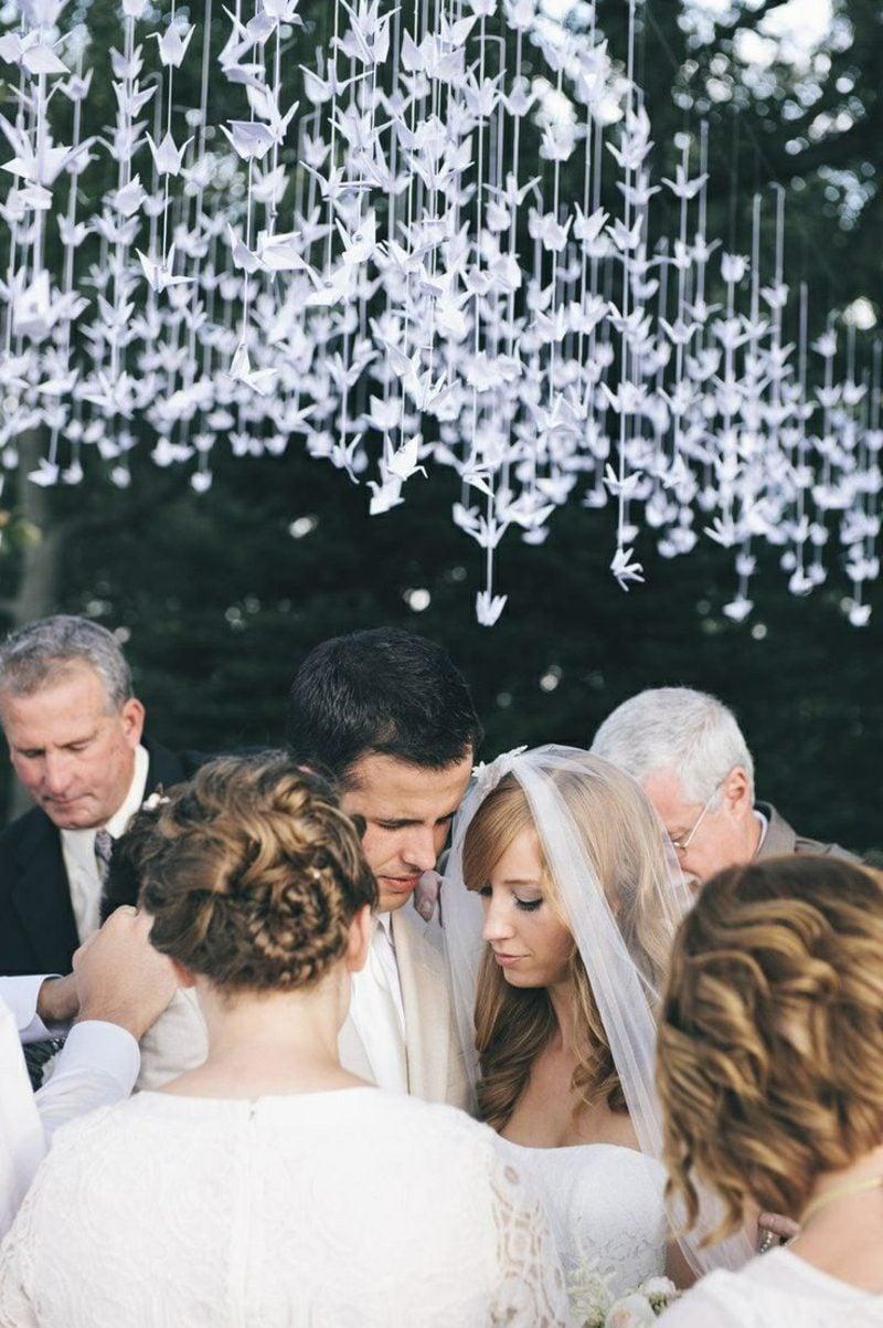 Bastelideen für Erwachsene Vogel Origami Hochzeitsdeko Girlanden