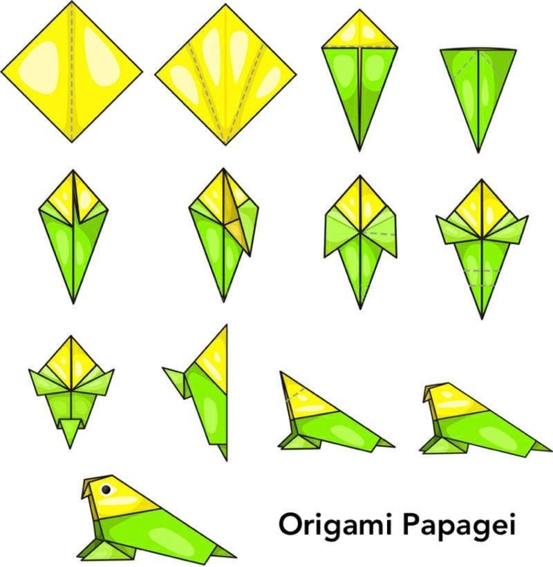 Bastelideen für Erwachsene Origami Papagei Bilderanleitung