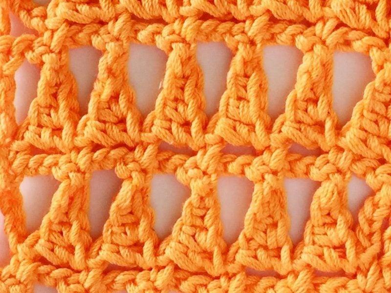 Häkelmuster Pyramidenmuster orange Garn