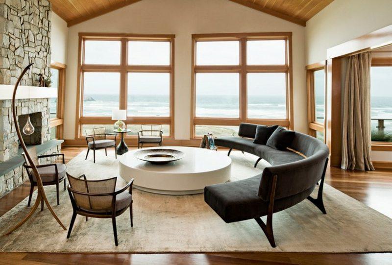 rundes Sofa elegantes Design Anthrazit