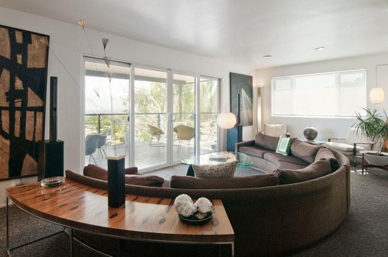 rundes Sofa Sitzecke gestalten Wohnzimmer