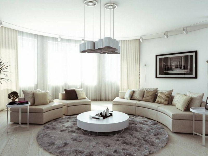 rundes Sofa weiss stilvoll Teppich rund