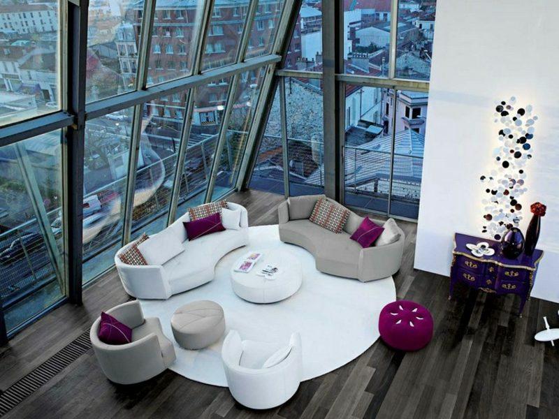 rundes Sofa modrnes Design industrielles Wohnzimmer