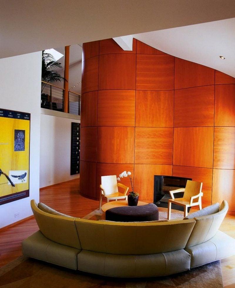 rundes Sofa Sitzecke Wohnzimmer Wandverkleidung Holz