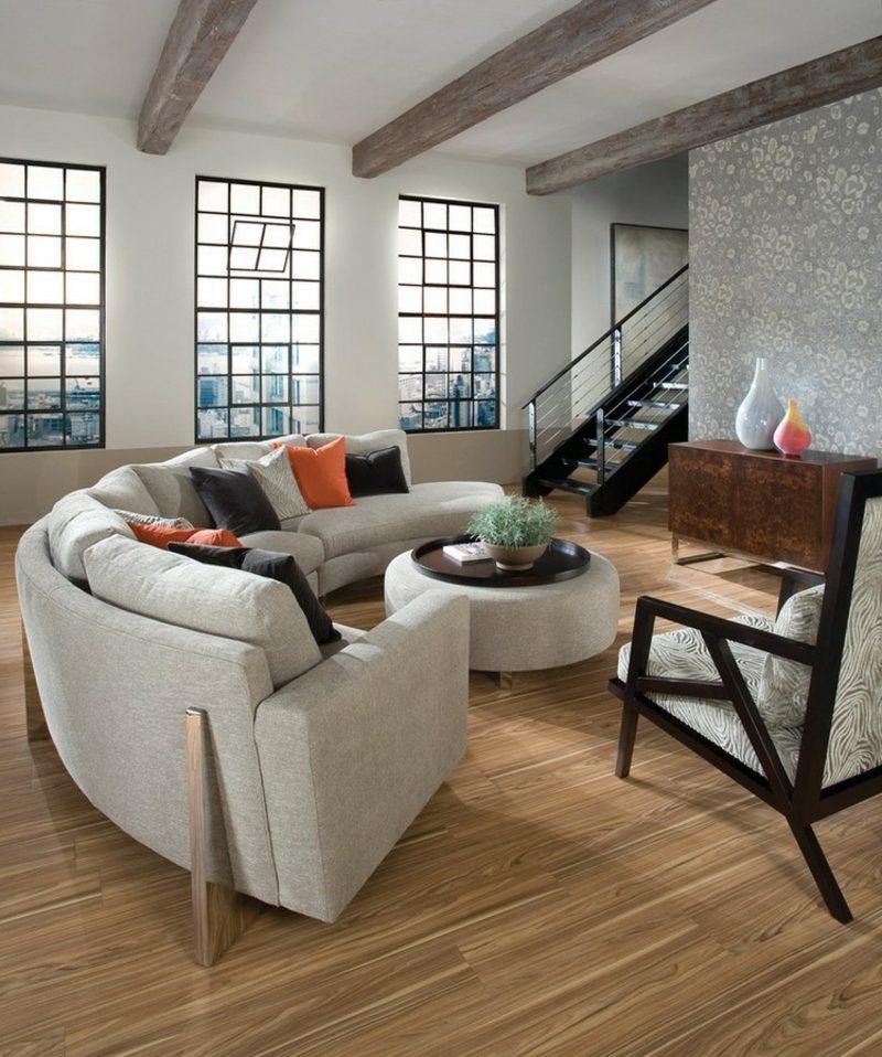 rundes Sofa weiss Wohnzimmer Couchtisch gepolstert