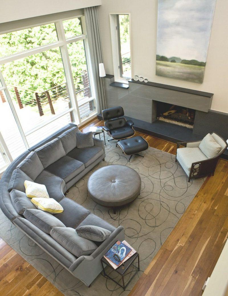rundes Sofa grau Polsterung bequem