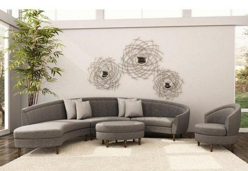 rundes Sofa in Grau edler Look Couchtisch