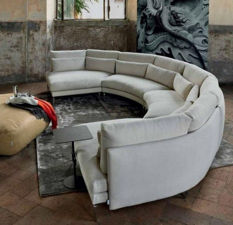 rundes Sofa weiss gross mehrere Leute