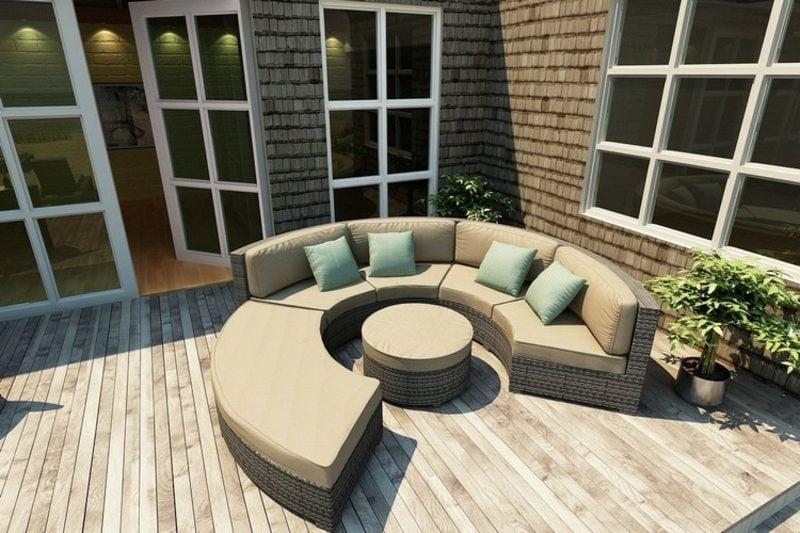 rundes Sofa modular Rattan Terrasse