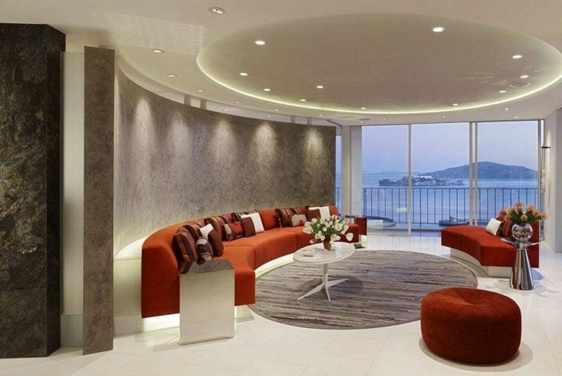rundes Sofa Orange Wohnzimmer stilvoll