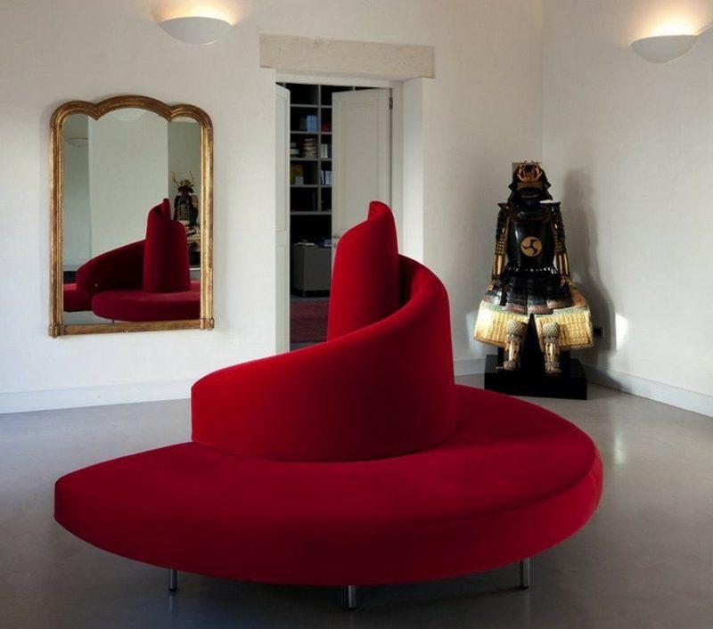 rundes Sofa rot Designer-Möbelstück