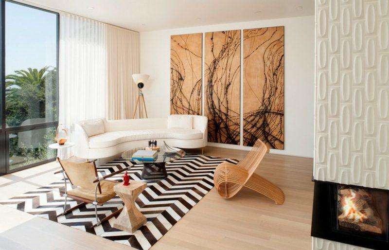 rundes Sofa weissSitzecke gestalten Wohnzimmer