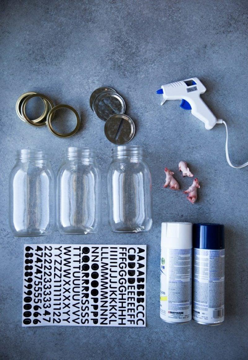 Spardose basteln aus Schraubgläsern notwendige Materialien