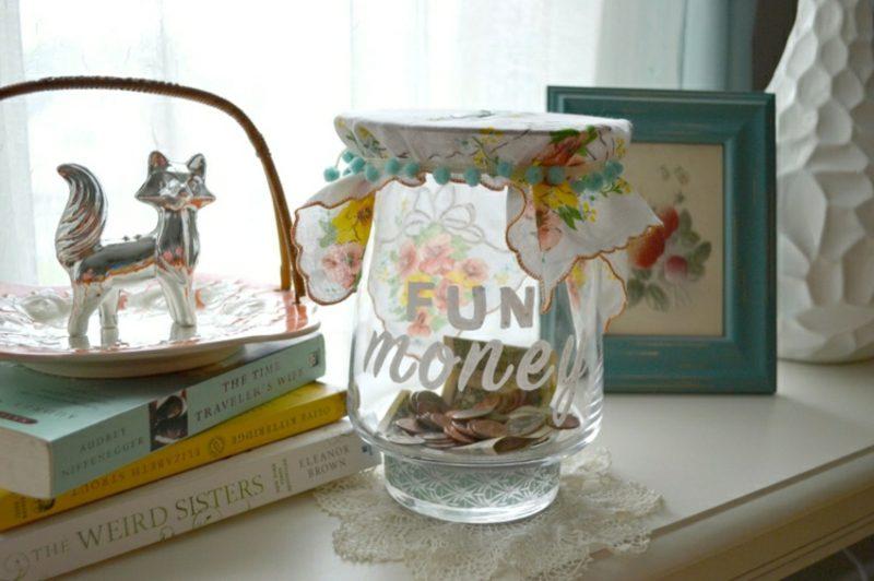 Spardose basteln aus Glas originell beschriftet