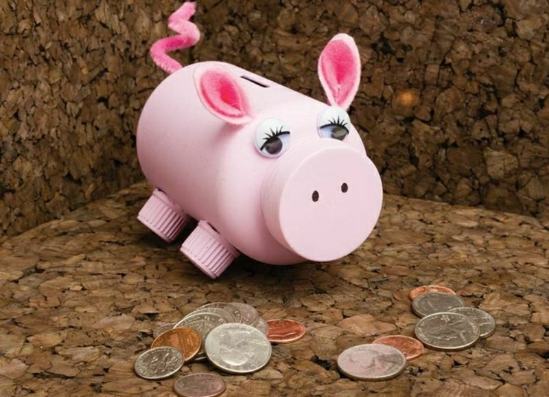 Spardose basteln Schweinchen Einmachglas realistisch