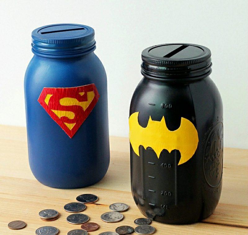 Spardose basteln und verzieren Superhelden Motive