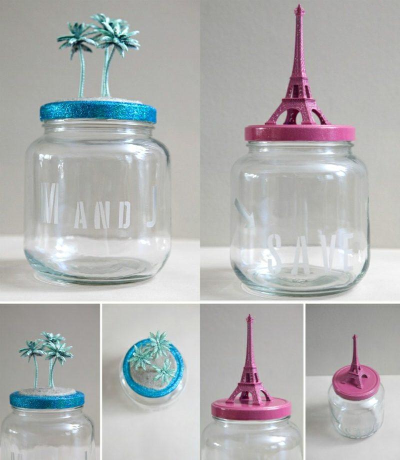 Spardose basteln Schraubglas kreativ dekorieren
