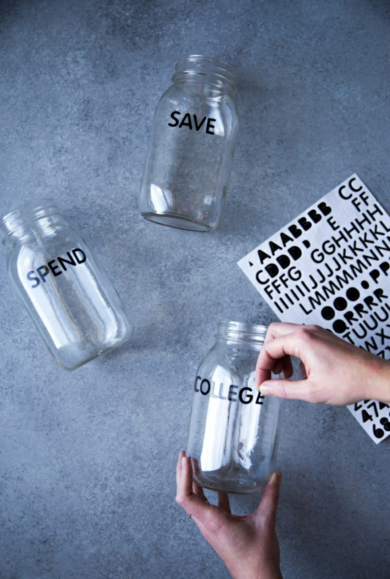 Spardose Basteln Schraubglas Aufkleber Buchstaben