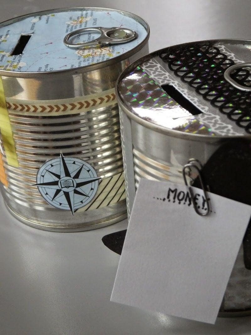 Spardose basteln leere Metalldosen Kompass