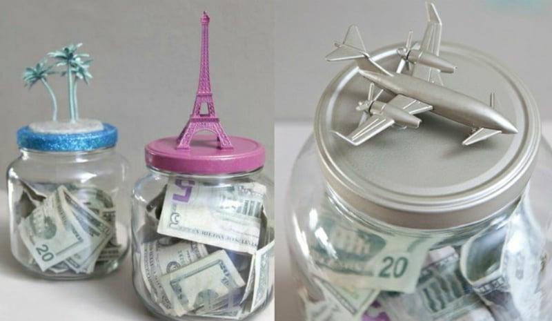 Spardose basteln Schraubglas Eiffel Turm Flugzeug