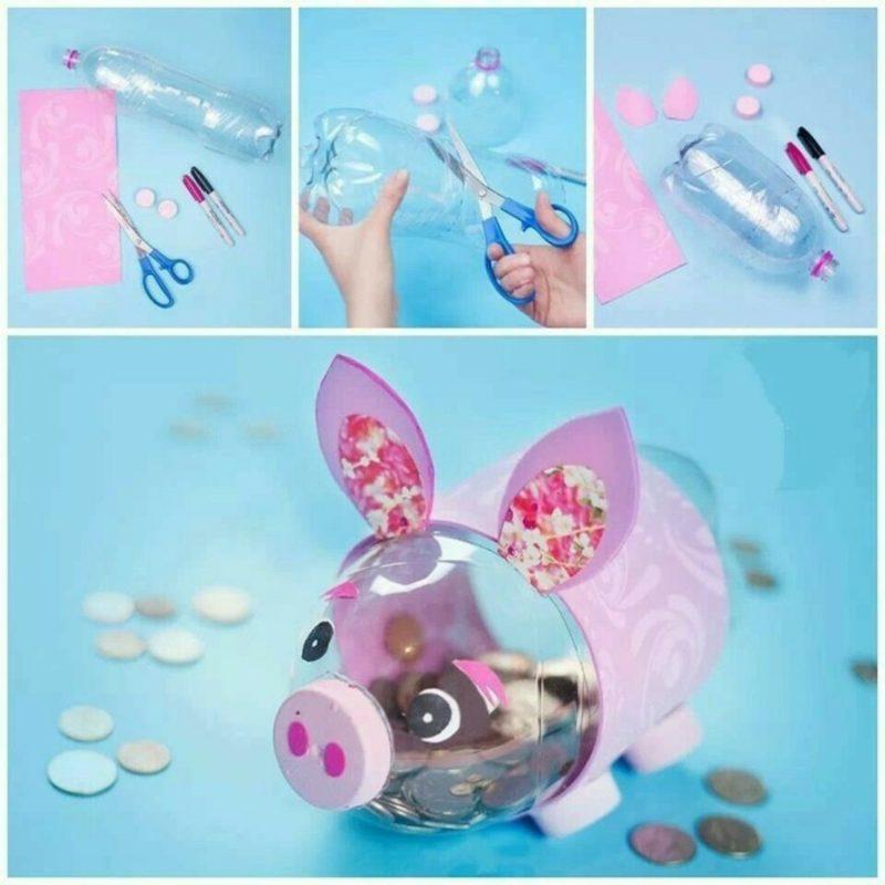Spardose basteln niedliches Schweinchen aus Plastikflasche