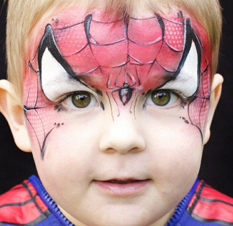 Halloween Schminken Kinder Spiderman originell kleiner Junge
