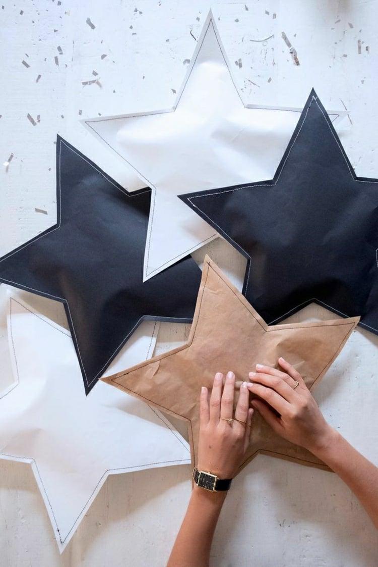 Sterne basteln aus Brotpapier Geschenkverpackung originell