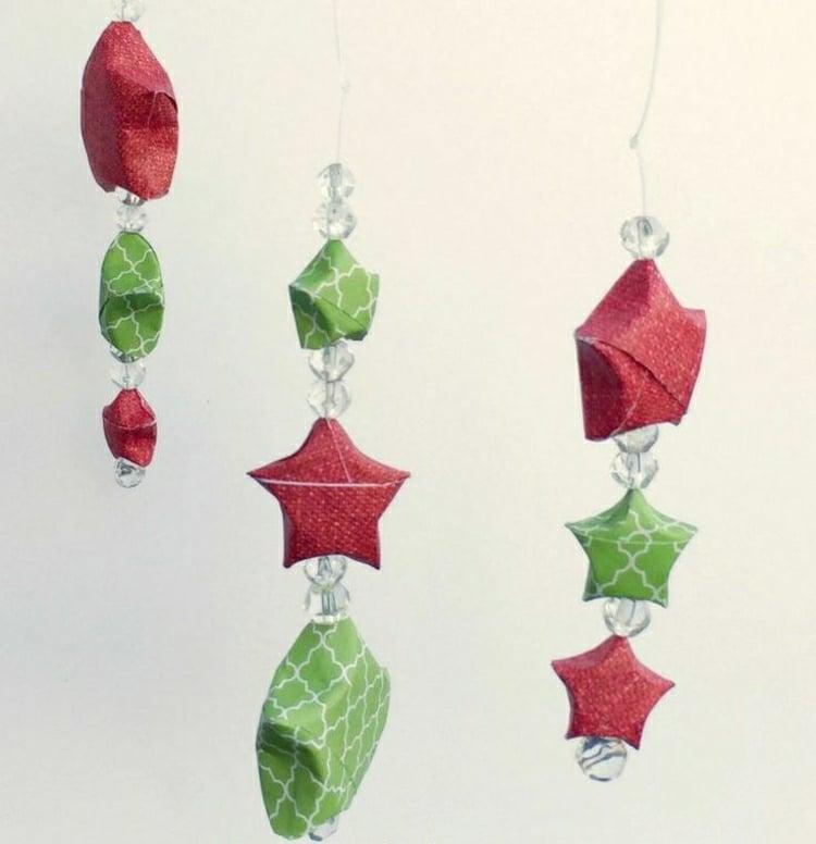 Sterne basteln Origami falten Anhänger
