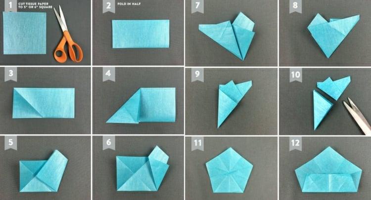 Sterne basteln Seidenpapier Faltanleitung