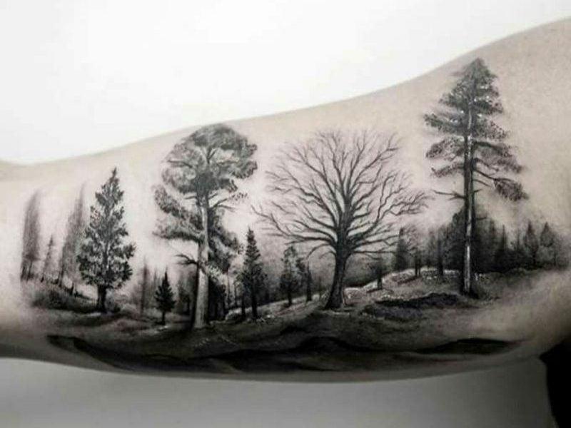 Wald Tattoo Symbolik und Designideen
