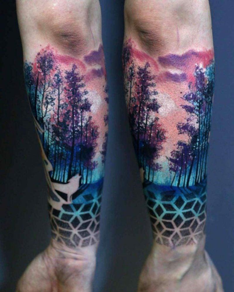 Wald Tattoo Wasserfarben