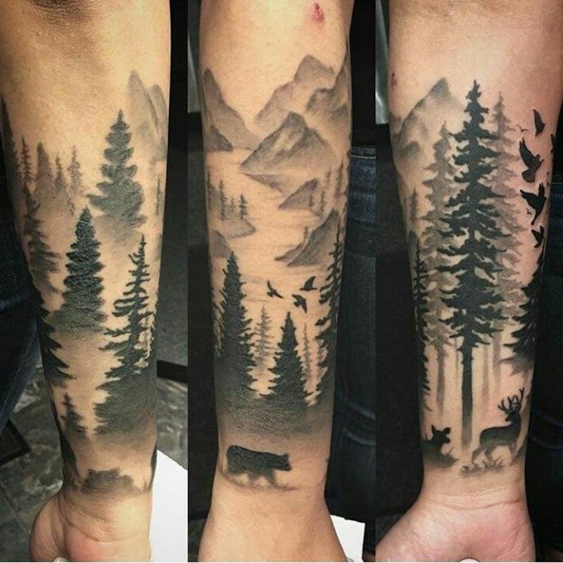 Wald Tattoo Bergen Waldtiere