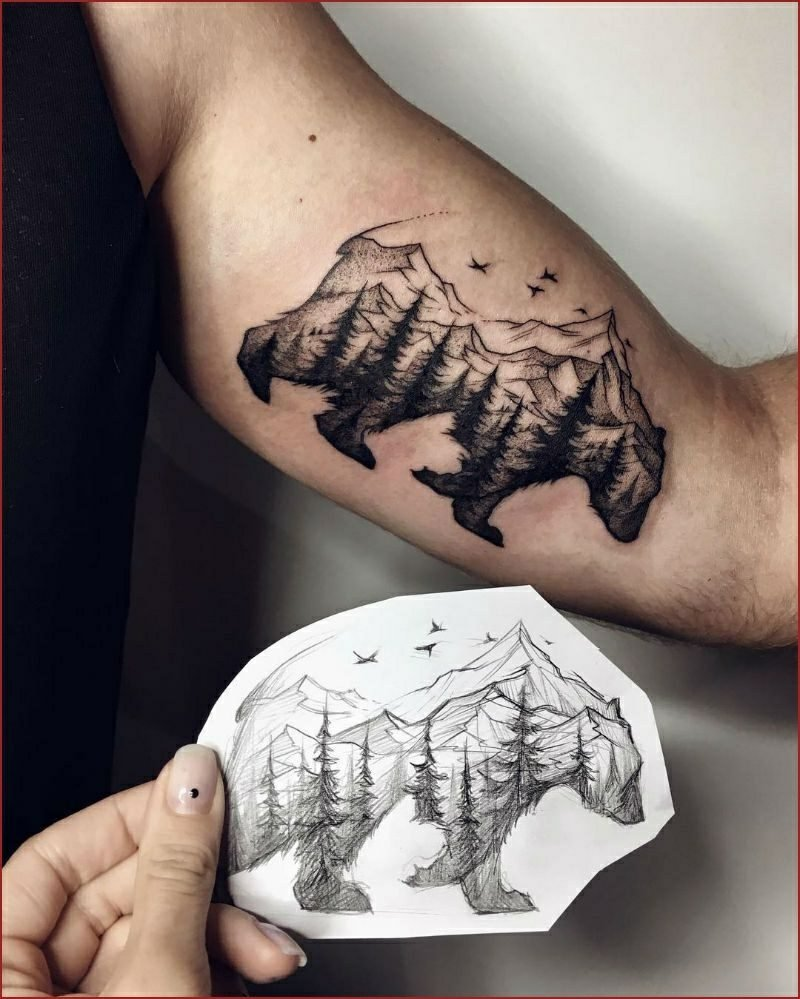 Wald Tattoo originell Vorlage