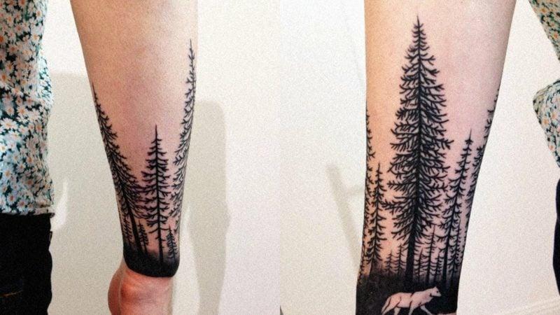 Wald Tattoo Frau Unteram