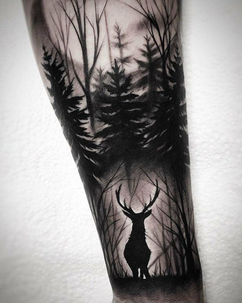 Wald Tattoo originell Hirsch