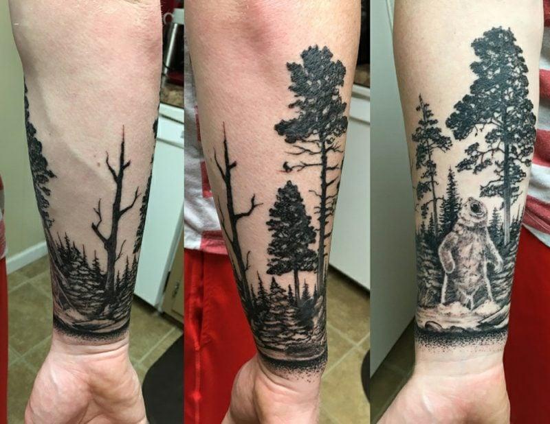 Wald Tattoo Landschaft realistisch