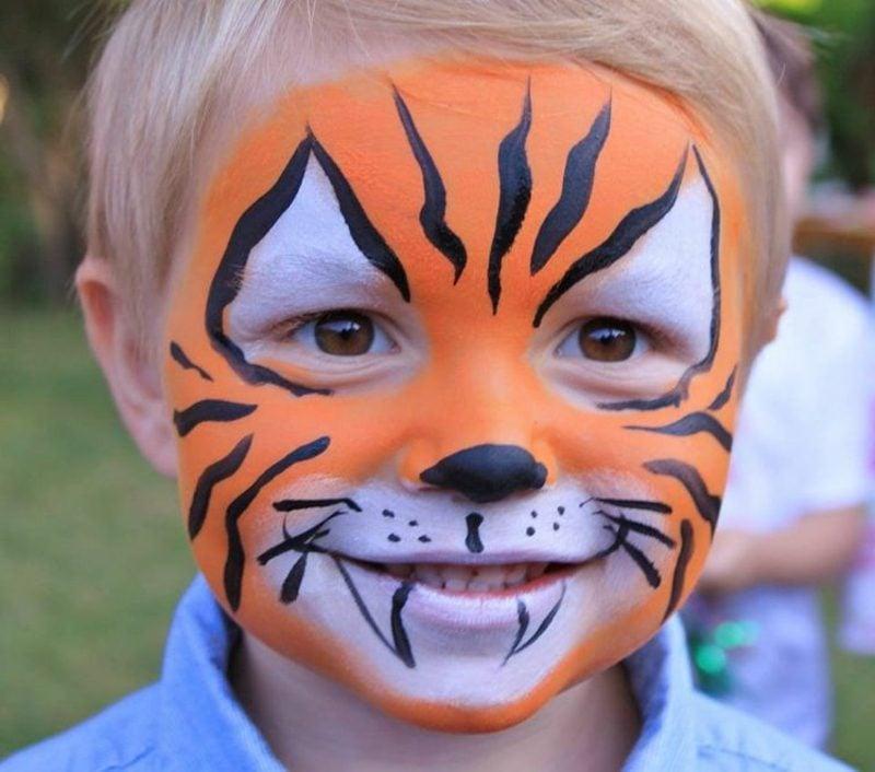 Halloween Schminken Kinder Tiger herrlicher Look Junge
