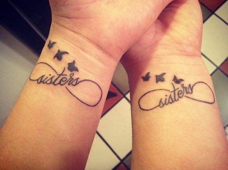 Tattoo Unendlichkeitszeichen Vögel Schwester
